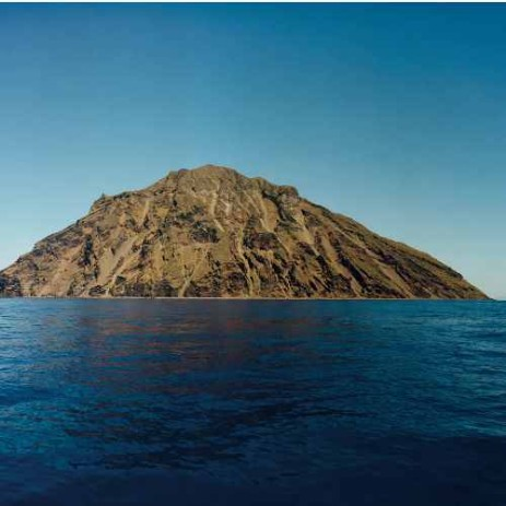 A view of the volcanic island of Alicudi in the Aeolian archipelago